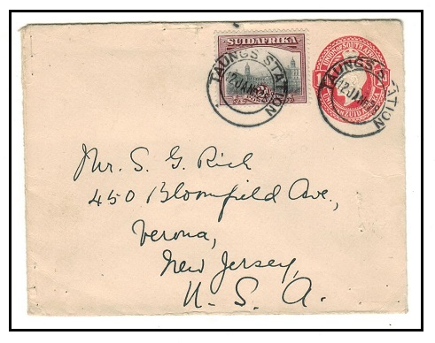 BECHUANALAND - 1928 1d red PSE of South Africa uprated to USA at TAUNGS STATION.