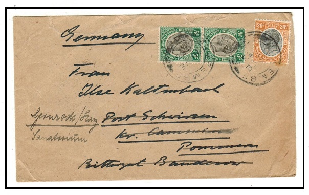 TANGANYIKA - 1932 30c rate cover to Germany used at LUPEMBE.