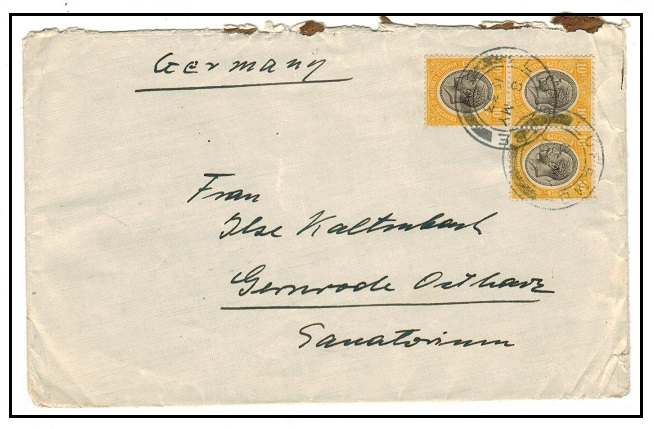 TANGANYIKA - 1933 30c rate cover to Germany used at LUPEMBE.