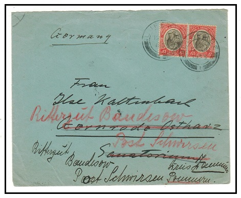TANGANYIKA - 1933 30c rate cover to Germany (ex flap) used at LUPEMBE.
