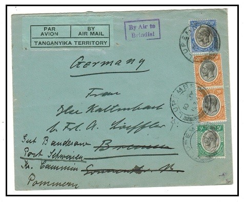 TANGANYIKA - 1933 75c rate air cover to Germany used at LUPEMBE with BY AIR TO/BRINDISI h/s.