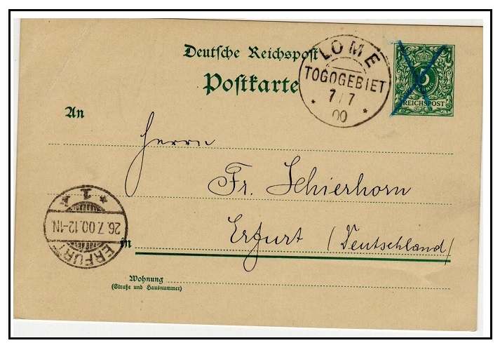 TOGO - 1894 5pfg green Germany PSC used locally at LOME/TOGO.
