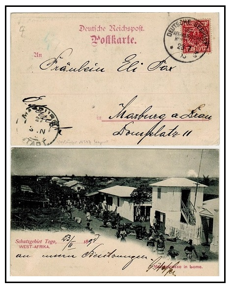 TOGO - 1898 10pfg rate postcard to Germany carried by German Shipping Line.