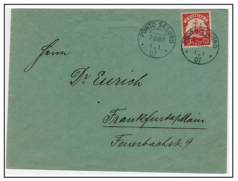 TOGO - 1907 10pfg rate cover to Germany used at PORTO SEGURU/TOGO.