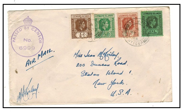 ANTIGUA - 1944 multi franked censored cover to USA used at ST.JOHNS.