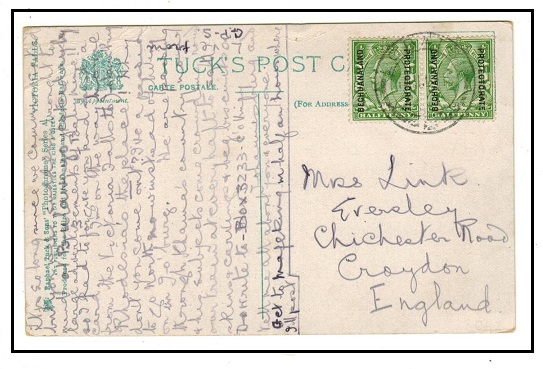 BECHUANALAND - 1915 1d rate postcard use to UK used at LOBATSI.