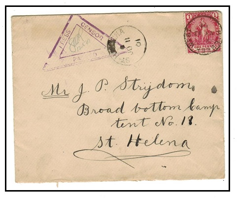 CAPE OF GOOD HOPE - 1901 1d rate censored Boer War cover to St.Helena.