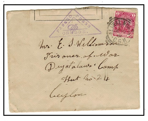 CAPE OF GOOD HOPE - 1901 1d rate Boer War censored cover to Ceylon POW camp used at ALIWAL NORTH.