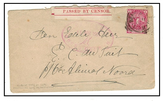CAPE OF GOOD HOPE - 1901 1d rate Boer War censored cover used at BEAUFORT WEST.