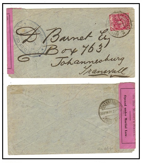 CAPE OF GOOD HOPE - 1901 1d rate Boer War censored cover to Transvaal used at CAPETOWN.
