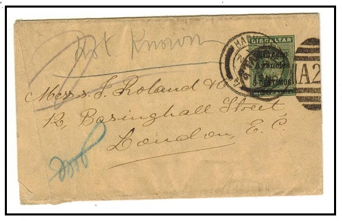 MOROCCO AGENCIES - 1904 5c on 1/2d green postal stationery wrapper to UK used at TANGIER. H&G 11.