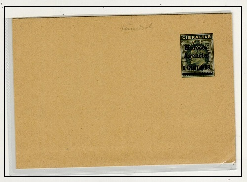 MOROCCO AGENCIES - 1903 5c on 1/2d green postal stationery wrapper unused.  H&G 4.