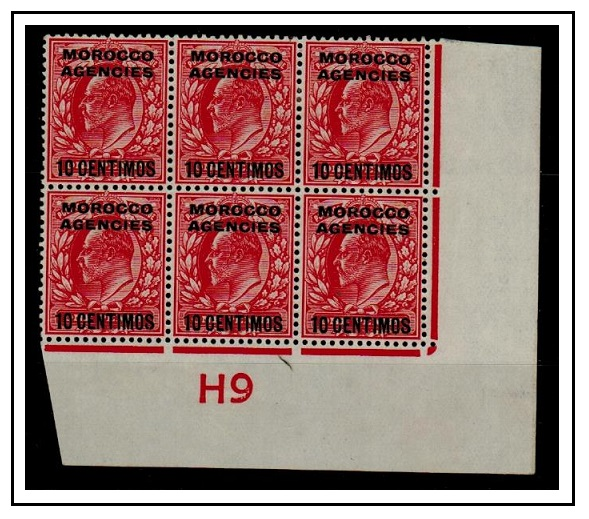 MOROCCO AGENCIES - 1907 10c on 1d scarlet mint block of six with