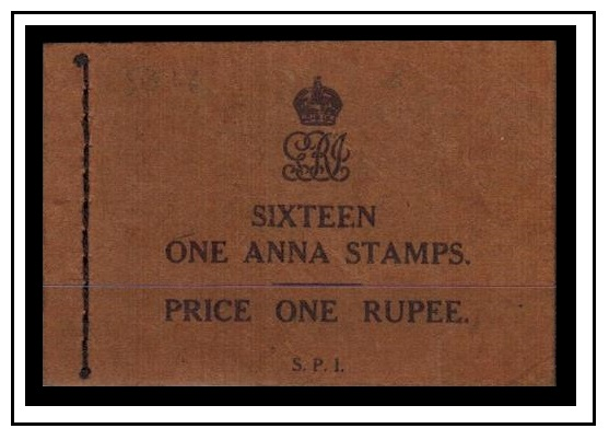 INDIA - 1929 1r black on brown BOOKLET incomplete but with two 1a panes of four.  SG SB18a.