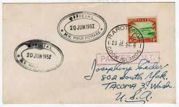 NIUE - 1952 PACKET BOAT mail cover to USA.