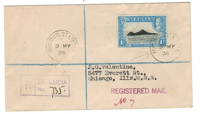 ST.LUCIA - 1936 registered cover to USA from MICOUD.