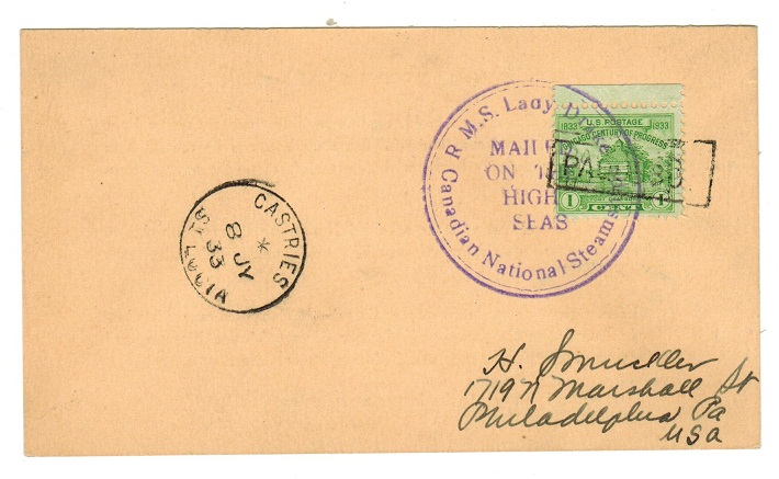 ST.LUCIA - 1933 R.M.S.DRAKE maritime cover to USA.