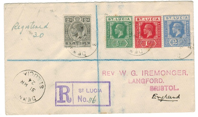 ST.LUCIA - 1924 registered cover to UK from DENNERY.
