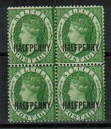 ST.LUCIA - 1882 1/2d green mint block of four.  SG 25.