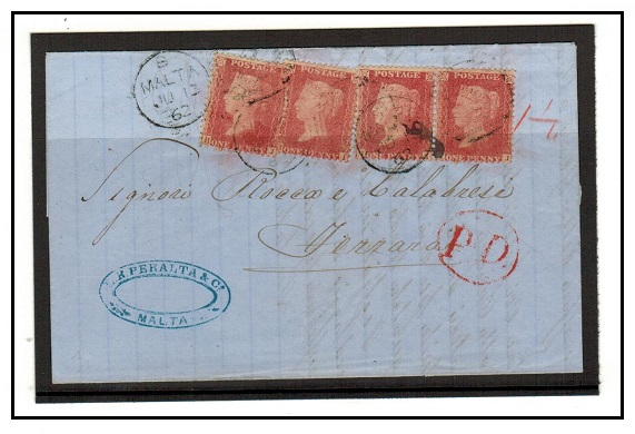 MALTA - 1862 4d rate entire to Italy.