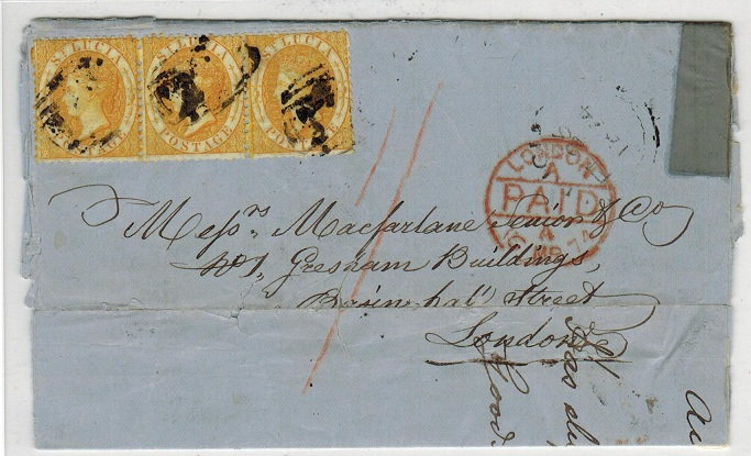 ST.LUCIA - 1874 1/- entire to UK.