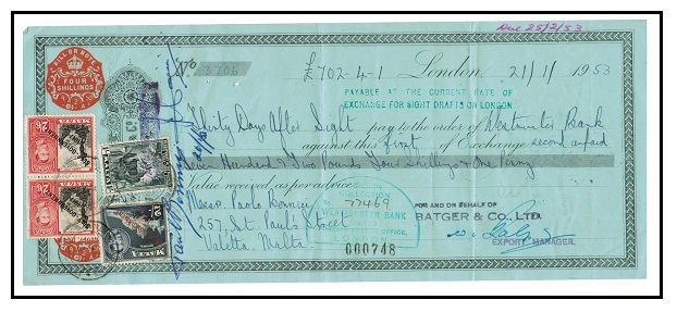 MALTA - 1953 UK cheque use bearing