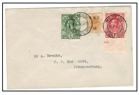 SWAZILAND - 1933 1/2d+1d combination cover with ORC