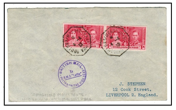 SOMALILAND - 1939 2d rate R.M.S.LATITIA maritime cover to UK with TOULON s/s/MER PAQUEBOT strikes.