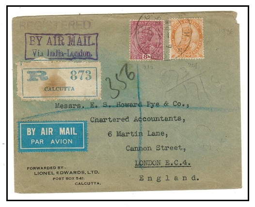 INDIA - 1936 registered cover to UK with