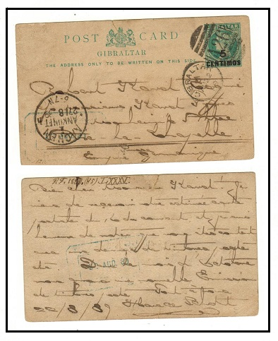 GIBRALTAR - 1889 5c on 1/2d green PSC to Germany. H&G 9.