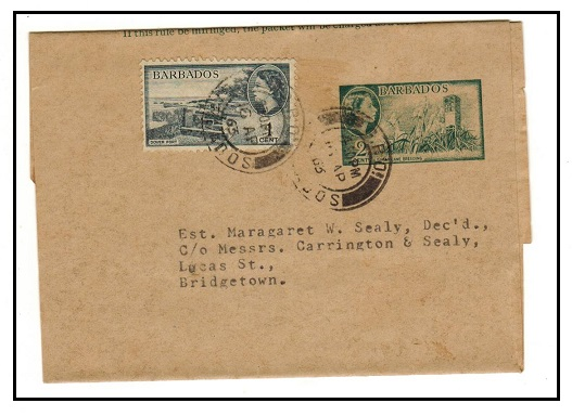 BARBADOS - 1953 2c green postal stationery wrapper uprated locally at GPO/BARBADOS.  H&G 8.