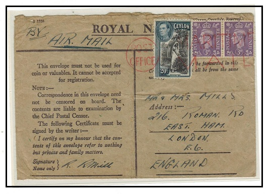 CEYLON - 1944 (circa) use of ROYAL NAVY concessionary envelope to UK.