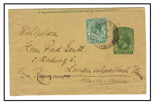 GIBRALTAR - 1912 1/2d green postal stationery wrapper uprated to Germany.  H&G 12.