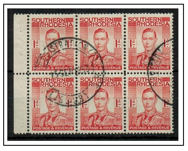 SOUTHERN RHODESIA - 1937 1d scarlet BOOKLET PANE of six used at REGISTRATION (2)/SALISBURY.