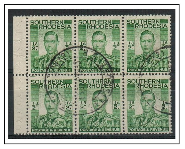SOUTHERN RHODESIA - 1937 1/2d green BOOKLET PANE of six used at REGISTRATION (2)/SALISBURY.