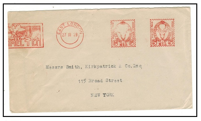 SOUTH AFRICA - 1929 1d+2d red meter mark cover to USA with