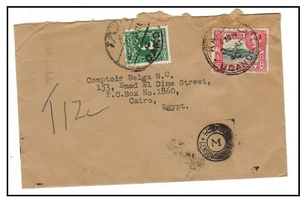 K.U.T. - 1940 underpaid cover to Egypt used at KAMPALA with 4c