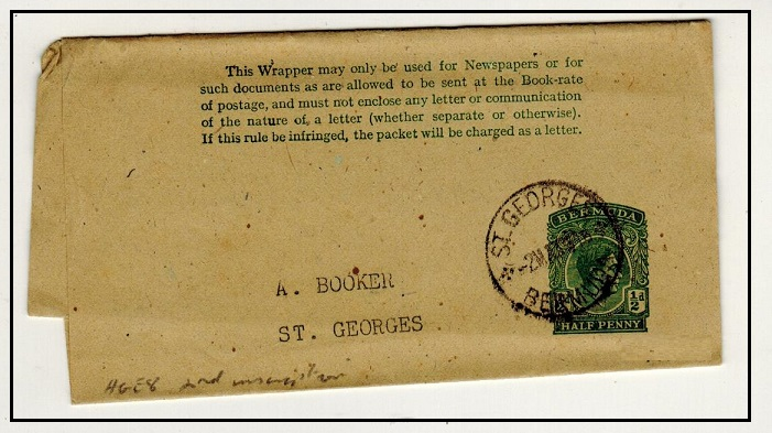 BERMUDA - 1937 1/2d green on buff postal stationery wrapper used locally at ST.GEORGES. H&G 8.