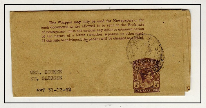 BERMUDA - 1937 1/4d brown on buff postal stationery wrapper used locally at ST.GEORGES. H&G 7.