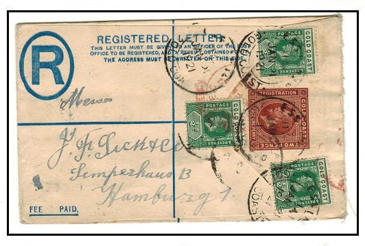 GOLD COAST - 1915 2d+1d brown RPSE to Germany uprated at ESSIAMAH/GOLD COAST.  H&G 9.
