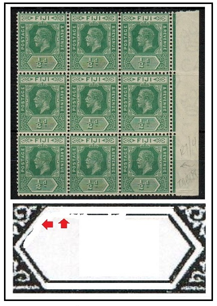FIJI - 1917 1/2d blue green u/m block of 9 with
