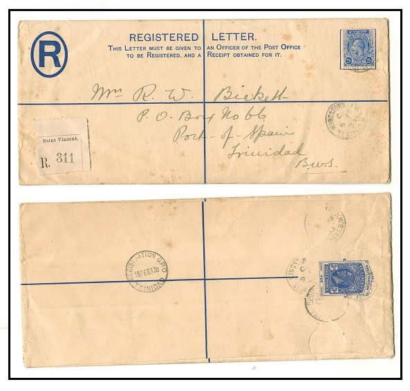 ST.VINCENT - 1923 3d ultramarine RPSE (size H2) uprated to Trinidad.  H&G 5a.