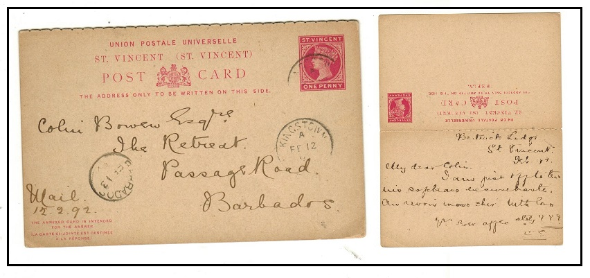 ST.VINCENT - 1884 1d+1d carmine PSRC to Barbados used at KINGSTOWN.  H&G 4.