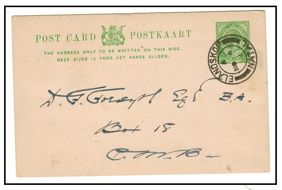SOUTH AFRICA - 1913 1/2d green PSC used locally at ELANDSKOP/NATAL.  H&G 1.