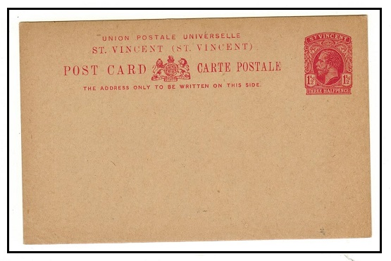 ST.VINCENT - 1923 1 1/2d carmine PSC unused.  H&G 11.