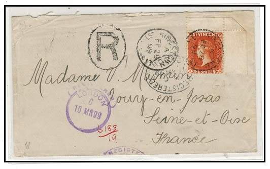 ST.VINCENT - 1899 1/- rate registered cover addressed to France used at KINGSTOWN.