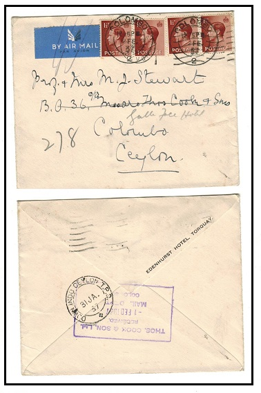 CEYLON - 1937 inward cover from UK with