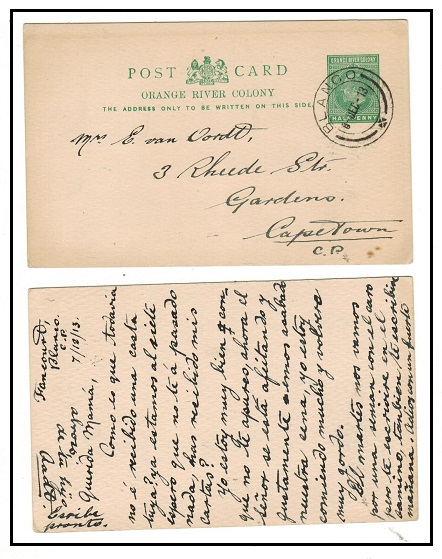 CAPE OF GOOD HOPE - 1913 use of 1/2d green PSC of ORC used inter-provincially at BLANCO.