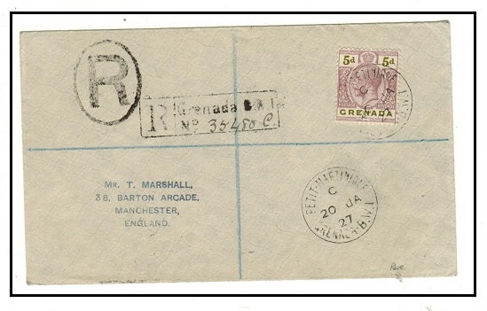 GRENADA - 1927 5d rate registered cover to UK used at PETIT MARTINIQUE. A scarce village use.