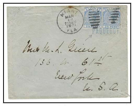 BAHAMAS - 1901 5d rate cover to USA cancelled PAQUEBOT in blue.